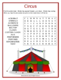 CIRCUS Word Search Puzzle (Easy)