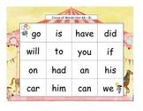 Circus Words Bingo Kindergarten Sight Words Set K2