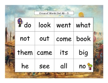 Circus Words Bingo Kindergarten Sight Words Set K3