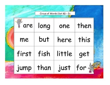 Circus Words Bingo Kindergarten Sight Words Set K4