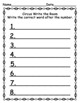 Circus Write the Room Activity