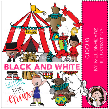 Circus clip art - Black and White - Melonheadz Illustrating