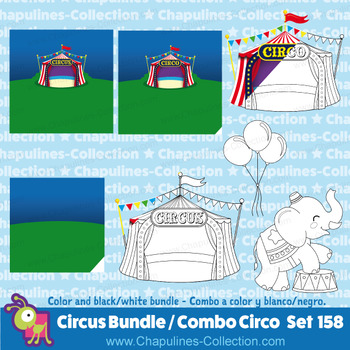 Circus clipart Bundle, color and black/white, line art, Combo Circo, Set 158