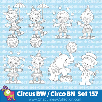 Circus clipart black and white, line art, Circo blanco y negro, Set 157
