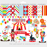 Circus clipart - circus clip art, lion, elephant, clowns, seal, digital papers