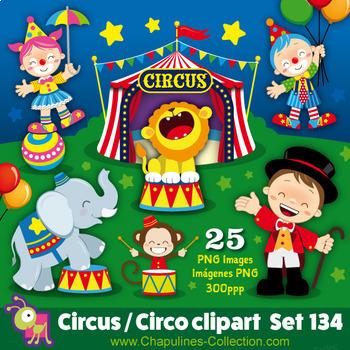 Circus clipart, clown, elephant, monkey, lion, balloons, circus tent, Set 134