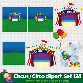 Circus clipart, clown, elephant, monkey, lion, balloons, circus tent, Set 134