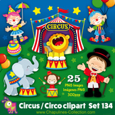 Circus clipart, clown, elephant, monkey, lion, balloons, c