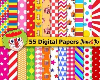 Circus digital paper Circus backgrounds scrapbook paper Clown Carnival Papers