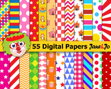 Circus digital paper Circus backgrounds scrapbook paper Cl