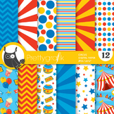 Circus digital paper, commercial use, scrapbook papers - PS681