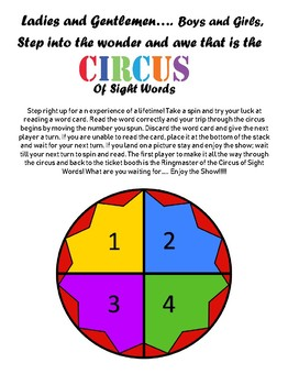 Circus of Sight Words Game: Dolch First Grade