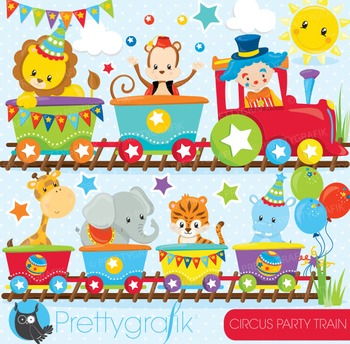 Circus party train clipart commercial use, graphics, digit