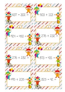 Circus task cards 2 - addition and subtraction up to 1000 with regrouping