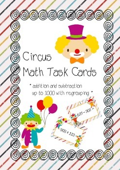 Circus task cards 2 - addition and subtraction up to 1000
