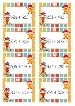 Circus task cards - addition and subtraction up to 1000 without regrouping