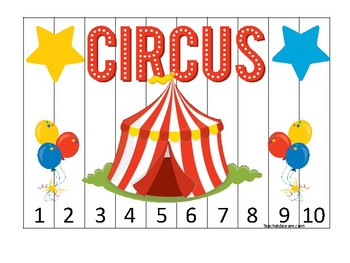 Circus themed 1-10 Number Sequence Puzzle Game. Printable Preschool
