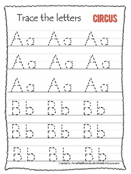 Circus themed A-Z Tracing Worksheets.Printable Preschool Handwriting