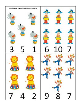 Circus themed Count and Clip Game.  Printable Preschool Game