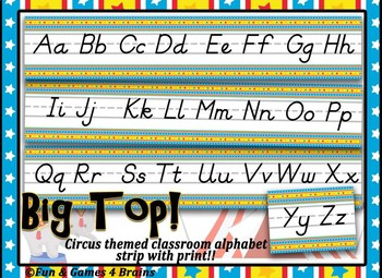 Circus themed D'Nealian Print Alphabet Strip