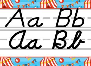 Circus themed D'Nealian print and cursive Alphabet Strip