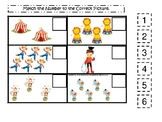 Circus themed Match the Number Game. Printable Preschool Game