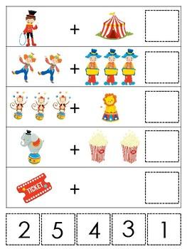 Circus themed Math Addition Game. Printable Preschool Game ...
