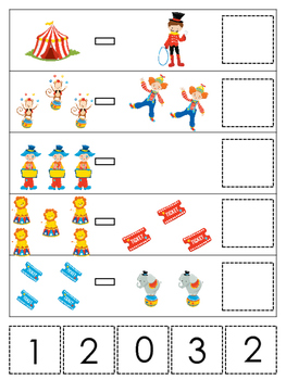 Circus themed Math Subtraction preschool learning game.  Daycare math.