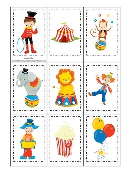 Circus themed Memory Matching preschool activity.  Daycare educational game.
