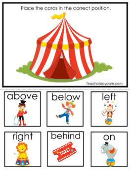 Circus themed Positional Game.  Printable Preschool Curriculum Game