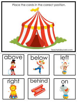 Circus themed Positional Game.  Printable Preschool Curric
