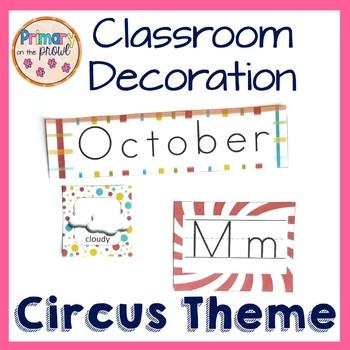 Circus themed classroom decoration kit
