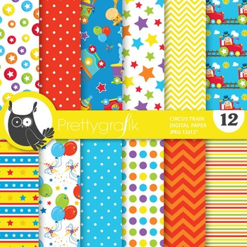 Circus train digital paper, commercial use, scrapbook papers - PS721