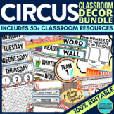 CIRCUS THEME classroom decor EDITABLE printables by Clutte