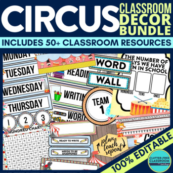 CIRCUS THEME Classroom Decor - EDITABLE Clutter-Free Class