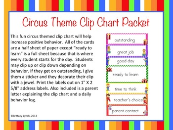 Circus Clip Chart Packet (Editable)