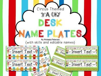 Circus/Wacky Desk Name Plates {with skills and editable name fields}