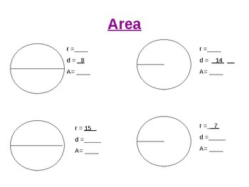 Circle Terms/Circumference and Area Practice