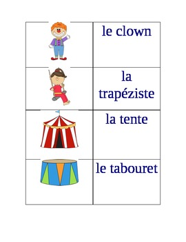Cirque: game-flashcards-writing activity