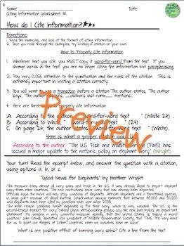Citations, Citing Information: Reader's Workshop, Worksheets, Task Cards, Poster