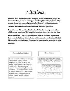 Citations Notes and Worksheets