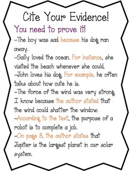cite evidence anchor chart worksheet by amy 39 s third grade adventures. Black Bedroom Furniture Sets. Home Design Ideas