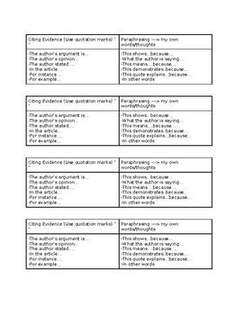 Cite Evidence Desk Chart