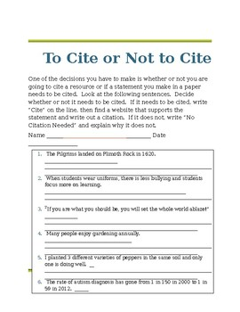 Cite It Packet