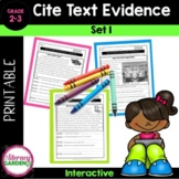 Citing Text Evidence for Elementary Students {Set 1}
