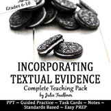 Citing Textual Evidence Lesson, Complete Teaching Pack with Task Cards