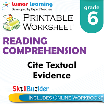 cite textual evidence printable worksheet grade 6 - Citing Textual Evidence Worksheet