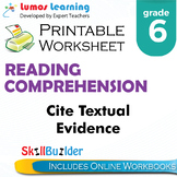 Cite Textual Evidence Printable Worksheet, Grade 6