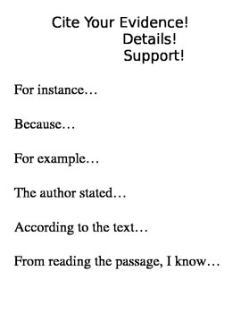 Cite Your Evidence, Details, Support Mini Anchor Chart