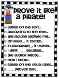 Cite evidence - Pirate Proof - Close Reading sentence starters